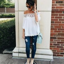 New Bohemian Off the Cold Shoulder White Lace Drapped Hippie Blouse Top - Medium