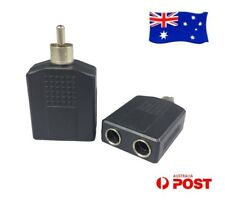 2x Dual 6.35mm Female to Single RCA Male Audio Plug Splitter Headset Adapter AU