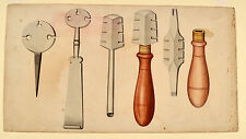 Glasschneider Glaser altes Schreinerwerkzeug Original Aquarel 1830 carpenter