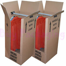 3 LARGE STRONG REMOVAL MOVING WARDROBE CARDBOARD BOXES WITH HANGERS