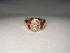 Gorgeous Estate 14K Yellow Gold Designer Diamond Ruby Mosaic Band Ring