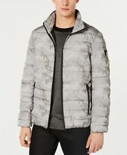 $298 Guess Mens Gray Camo Puffer Quilted Full-Zip Winter Warm Logo Jacket Coat S
