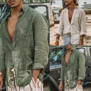 Mens Casual Cotton Linen Shirt Long Sleeve Loose Blouse Button Down Shirts Tops