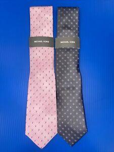 """NWT, Set Of 2, Michael Kors Men's Painterly 3"""" Wide Tie Necktie. Pink& Gray"""