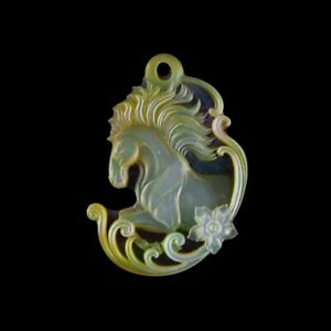 Carved MOP Stone Horse Bead GM034019