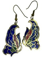 Vintage Cloisonne Blue Red Green Multi Enamel Butterfly Dangle Earrings Brass