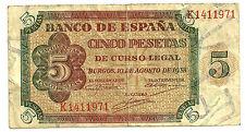 BILLETE DE 5 PESETAS DE 1938 (MBC-) BURGOS (SERIE K)