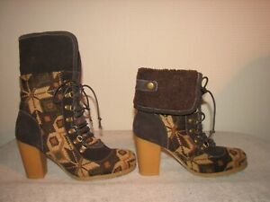 MUK LUKS Brown Ankle Boots Knitted  Leather Overlay  Heels Booties 10