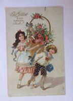 """""""Neujahr, Kinder, Mode, Blumen, Rosen"""" 1909, Prägekarte ♥"""