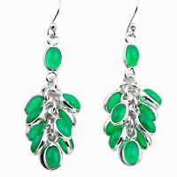 925 Sterling Silver 23.13cts Natural Green Chalcedony Chandelier Earrings P88484