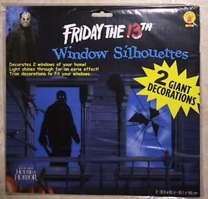 2 JASON FRIDAY THE 13TH WINDOW COVERS SILHOUETTES HALLOWEEN DECORATIONS PROPS