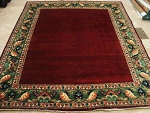 Modern Gabbeh Afghan Ruby Red Excellent Square Carpet Hand Knotted Rug (8 X 7)'