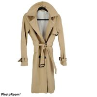 Barneys New York Women's Khaki Trench Coat Double Breasted Classic Size 38 US 4