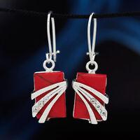 Koralle Silber 925 Ohrringe Damen Schmuck Sterlingsilber H0323
