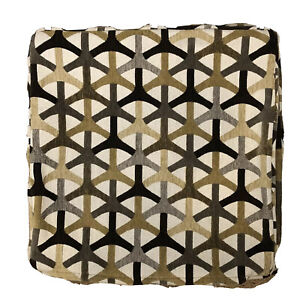 "Retro Brown Beige Geometric Embroidered 18"" x 18"" Pillow Cover Cotton Zipper"