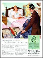 1940 Woman bedroom husband Wamsutta supercale sheets vintage art Print Ad  adL26