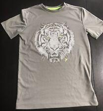 Boys 10/12 Old Navy Active Go-Dry Gray Grey Short Sleeve Shirt Tiger