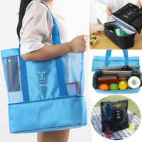 SN_ Large Double Layer Thermal Insulated Cooler Picnic Bag Beach Tote Food Sto