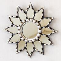 "Peruvian silver Round Wall Mirror 9.8"", Small Accent Mirror for wall decorative"