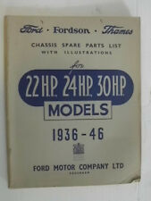 Original Ford Fordson Thames Chassis Spare Parts List f 22 H.P., 24 H.P., 30H.P.