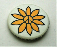 Vintage Anti War Peace Sign Flower 1970s White Yellow Button Pin NOS New