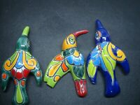 Lot of 3 Talavera Hummingbirds,  Mexican art Garden wall art