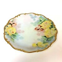 Lovely Tirschenreuth Bavaria Plate with Hand Painted Yellow Rose & Gold Rim 10""