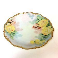 """Lovely Tirschenreuth Bavaria Plate with Hand Painted Yellow Rose & Gold Rim 10"""""""