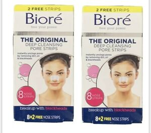Biore The OrIginal Deep Cleansing Pore Strips 8 CT + 2 FREE NOSE STRIPS 2 Pack