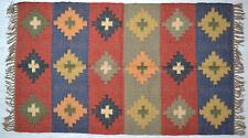 Kilim Rug Wool Indian 150x90cm 5x3' Kelim Maroon Navy Handmade Style Spain