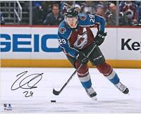 "Nathan MacKinnon Colorado Avalanche Signed 16"" x 20"" Burgundy Jersey Skate Photo"