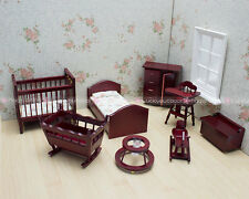 Kids Baby Room Furniture Chest Bed Rocking Cot Horse 1:12 Dollhouse Miniatures