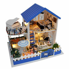 Blue Aegean Sea DIY Doll House Cute LED Dollhouses Miniature Kit Christmas Gift