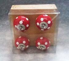 Vintage look~Set of 4 round ceramic patterned or plain furniture knobs-NEW