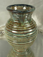 Stoneware Pottery VASE HAND THROWN Signed ZH Southern Illinois Artist EXCELLENT