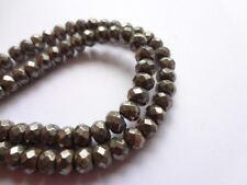 "4x6mm Faceted Rondelle Genuine Pyrite Semi Precious Gemstone Beads - 11"" strand"