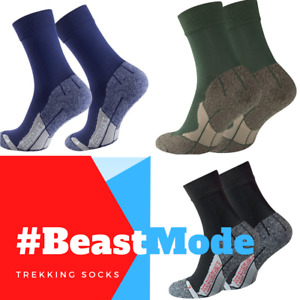 2 Pairs Unisex Compression Trekking Socks. Left Right Padded Blister Free Comfy