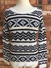 Pink Rose Juniors Sweater Black White Stripe Zig-Zag Pattern Long Sleeve NEW XS