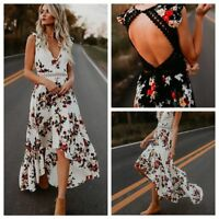 Femmes Vintage Boho Longue robe Maxi robe de plage Backless Sundress