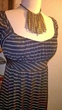 CMH NWT Black Striped Casual Dress Cap Sleeves Sz M Medium Knee Length D070
