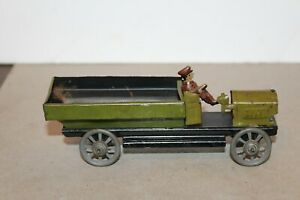 NICE LARGE  1920's TIN LITHOGRAPH PENNY TOY OPEN DELIVERY TRUCK with DRIVER