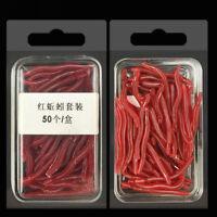 50 Pcs/set Crankbaits Hooks Baits Tackle Red Earthworm Fishing Bait Worm Lures