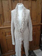 ladies new shaggy cardigan 14/16 continental wool blend pristine stylish lovely.