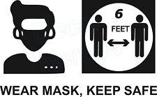 Wear Mask Keep Safe Distance Vinyl Sticker Office Door Receptionist Desk 11x7