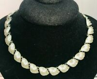 "16"" Vintage Signed Coro Leaf Panel Link Necklace Choker Silver Tone Fall"