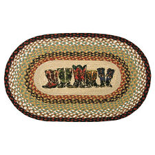 """COWBOY BOOTS 100% Natural Braided Jute Rug, 20"""" x 30"""" Oval, Earth Rugs"""