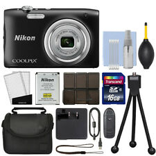 Nikon Coolpix A100 20.1MP Digital Camera 5x Optical Zoom Black + 16GB Kit