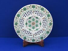 Marble Plate stone Malaquite Pietra dura inlay handmade Craft for Home Decor