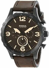 Fossil Men's JR1487 Nate Chronograph Brown Dial Brown Leather Watch