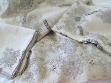 Vintage Maderia Embroidered 17pc Linen Placemat Set Ecru & Taupe lavish Handwork